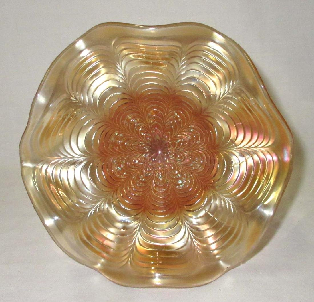 """Carnival Glass """"Peacock Tail"""" Compote - 2"""