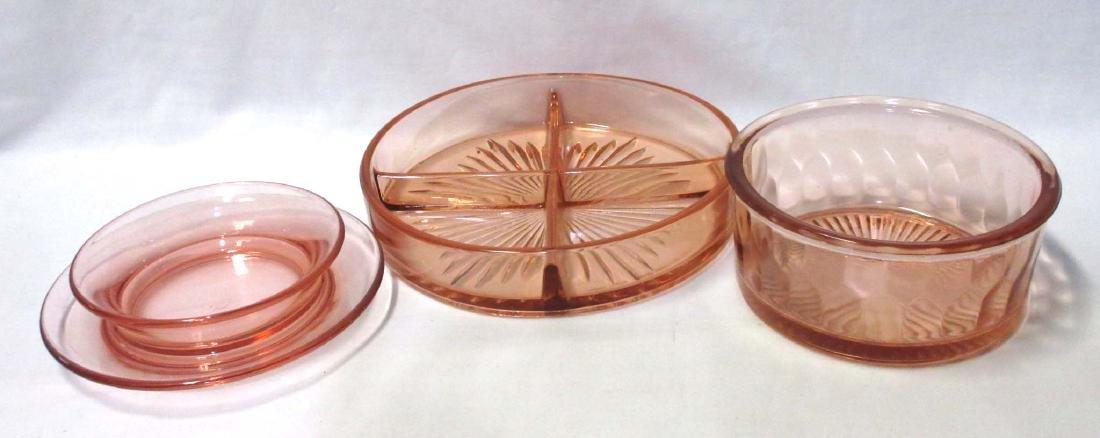 3pcs Pink Depression Glass