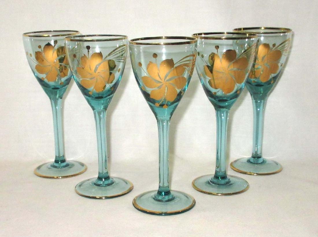 6pc Gold Enameled Wine Set - 3