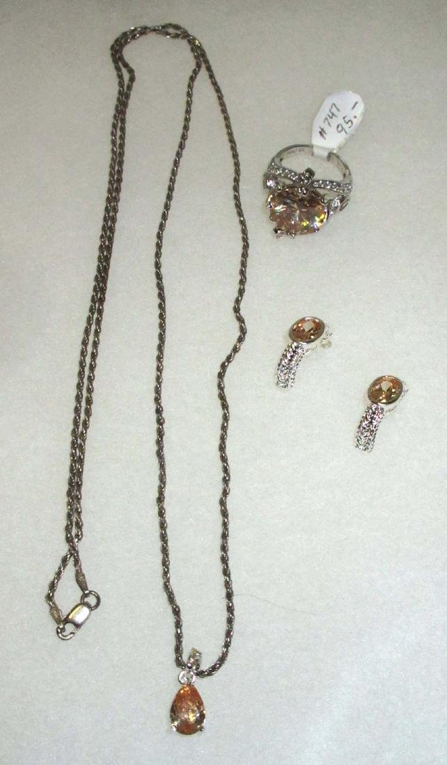 Sterling & Tourmaline Necklace, Earrings, & Ring