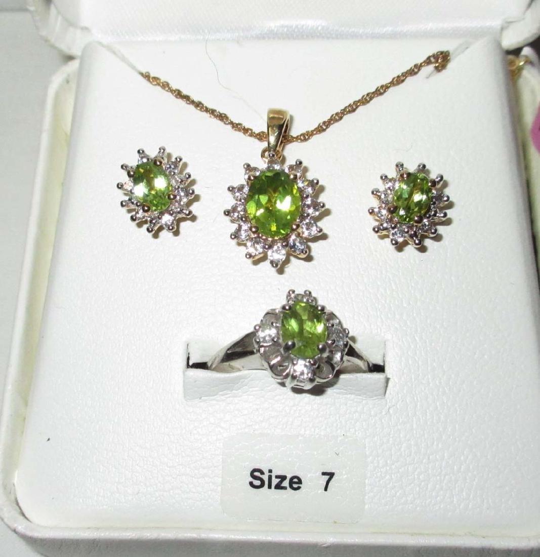 Sterling & Peridot Necklace, Earrings & Ring