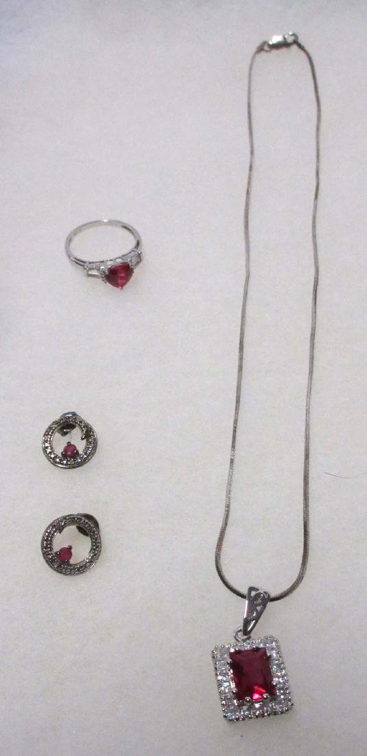 Sterling & Synthetic Ruby Necklace & Ring