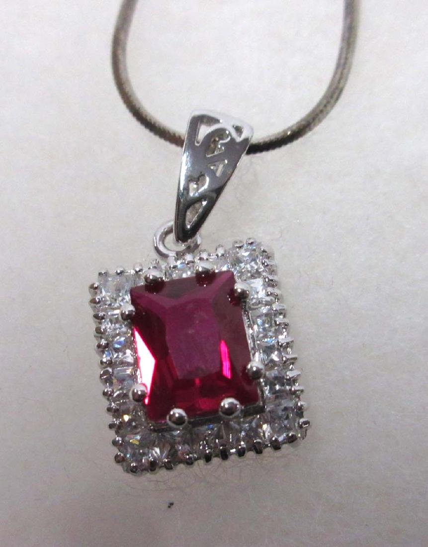Sterling & Synthetic Ruby Necklace & Ring - 2