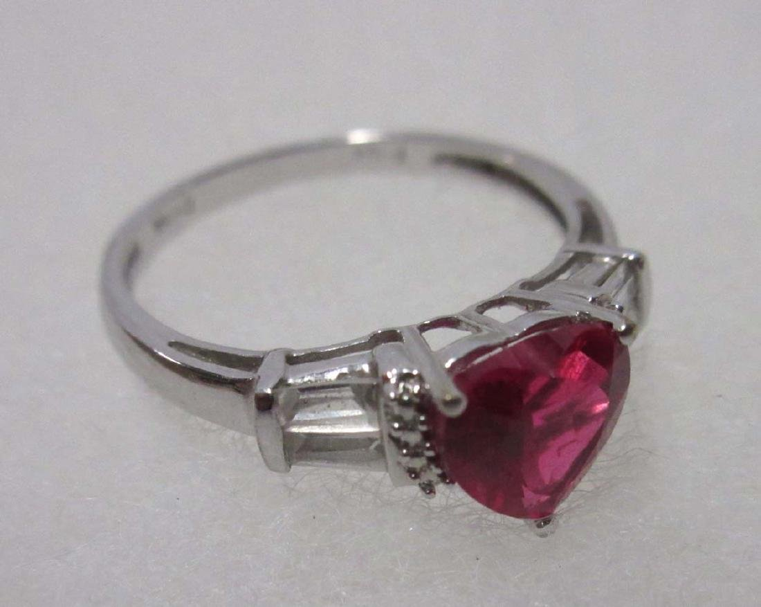 Sterling & Synthetic Ruby Necklace & Ring - 4