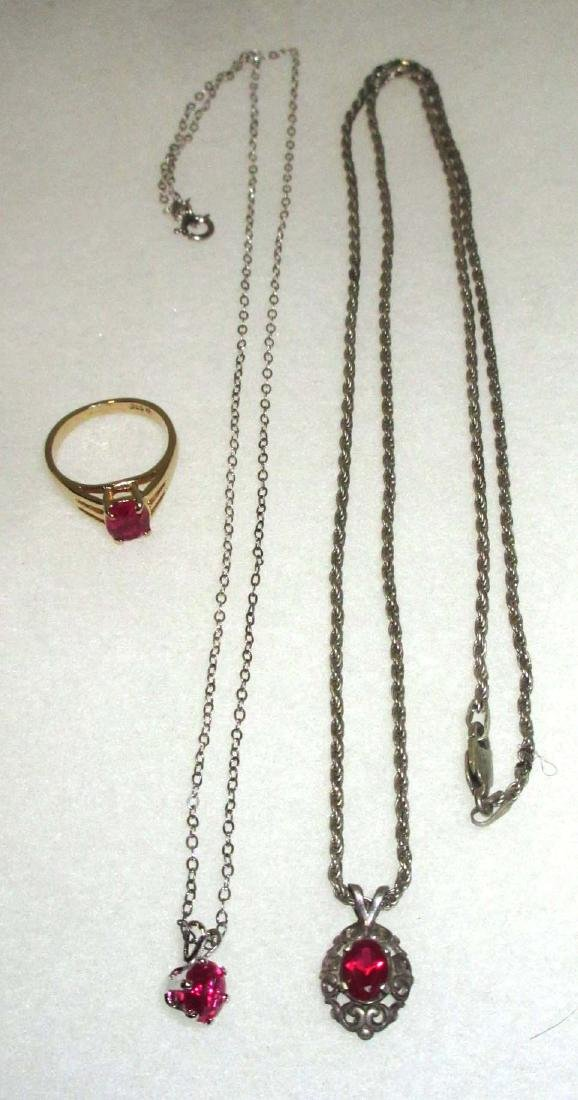 Sterling & Synthetic Ruby (2) Necklaces & Ring