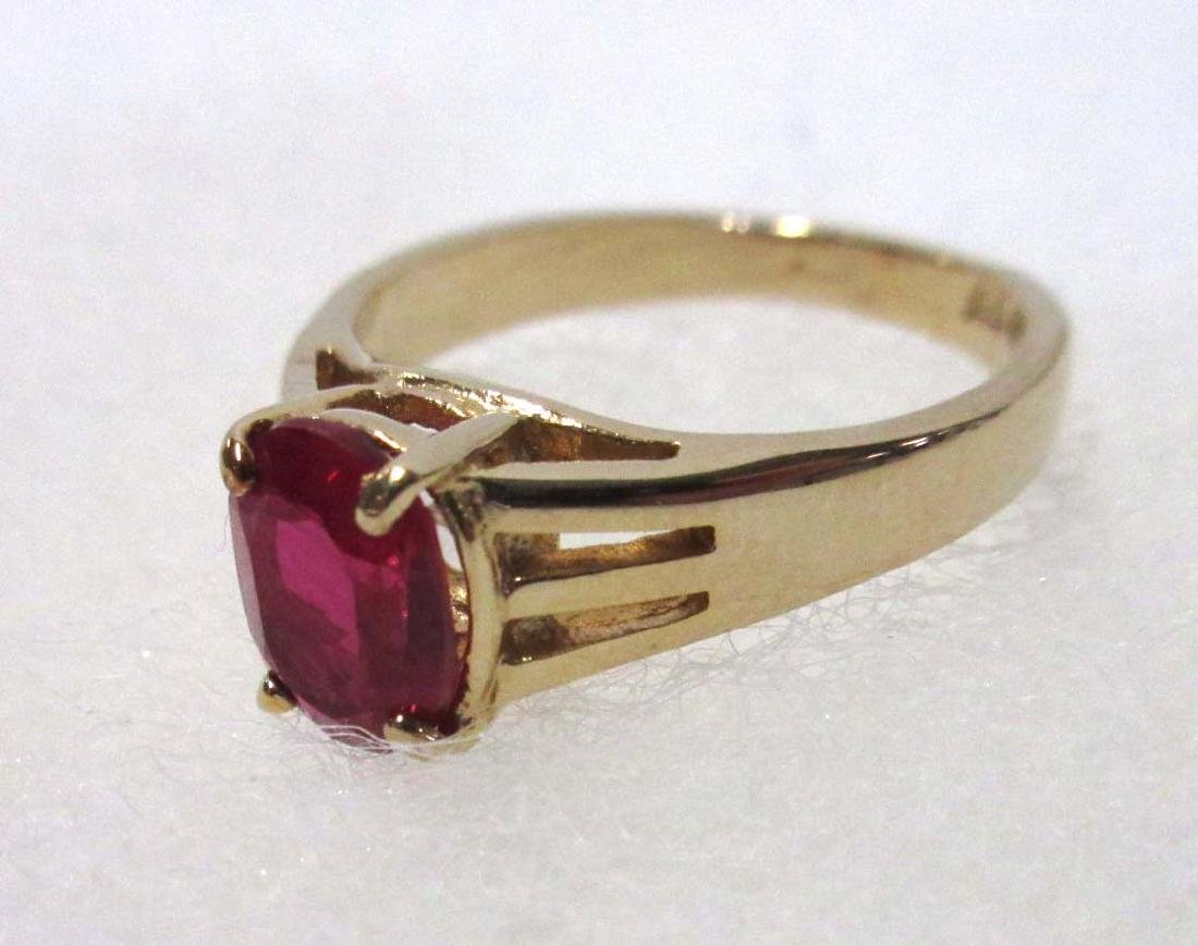 Sterling & Synthetic Ruby (2) Necklaces & Ring - 2