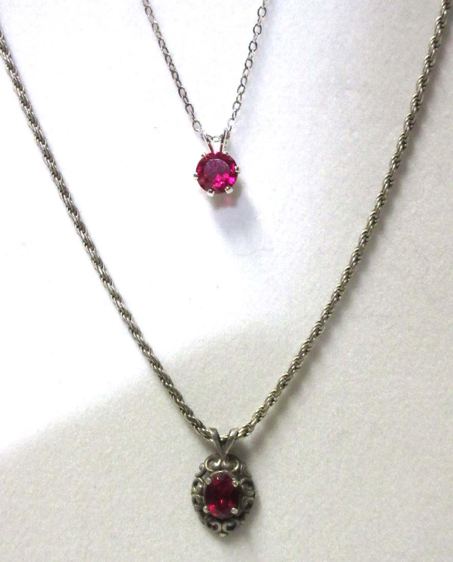 Sterling & Synthetic Ruby (2) Necklaces & Ring - 4