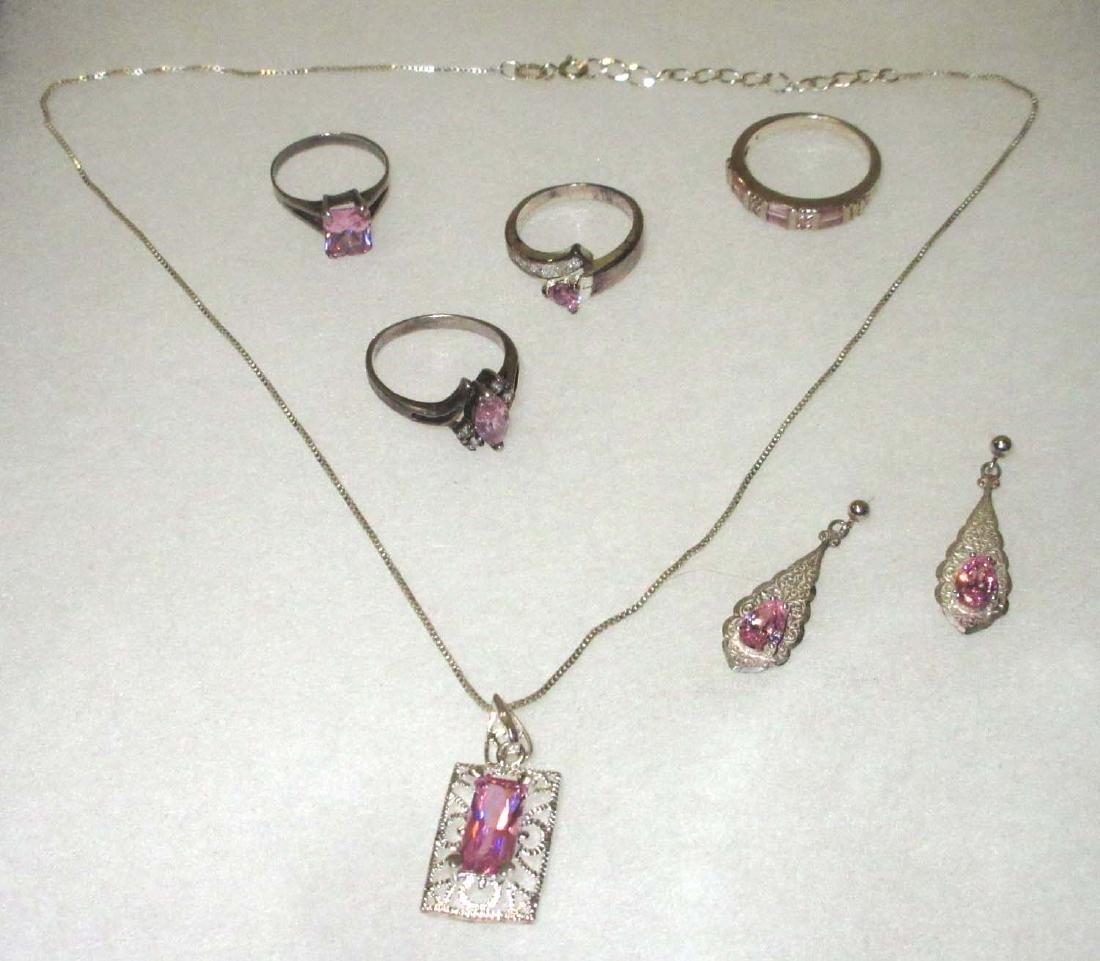 Sterling & Tourmaline Necklace, Earrings, & Rings