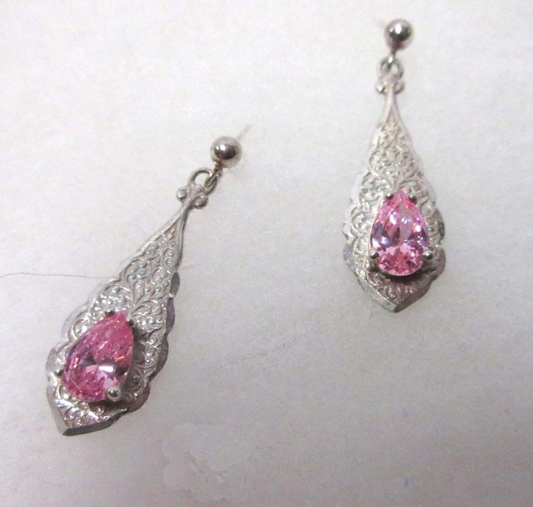 Sterling & Tourmaline Necklace, Earrings, & Rings - 3
