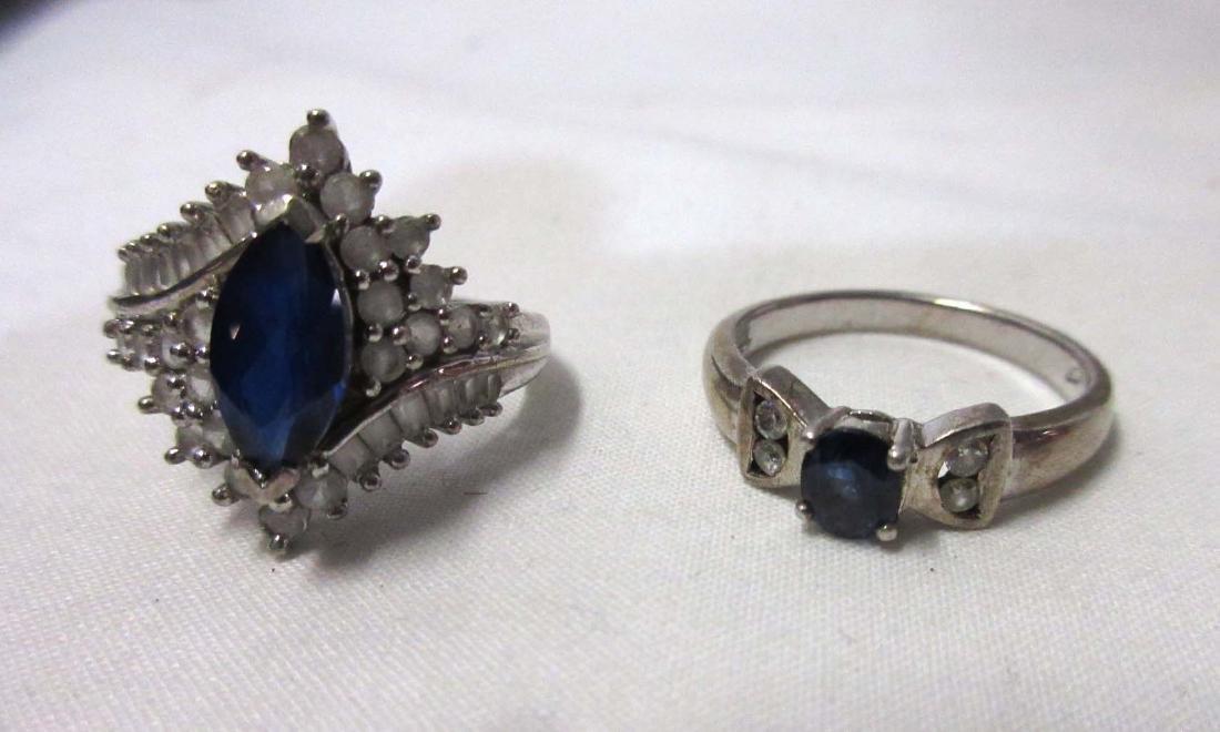 2 Sterling & Sapphire Rings