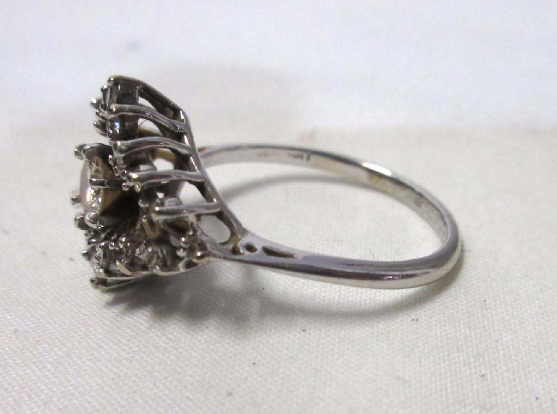 Pretty 14K White Gold Diamond Ring - 2