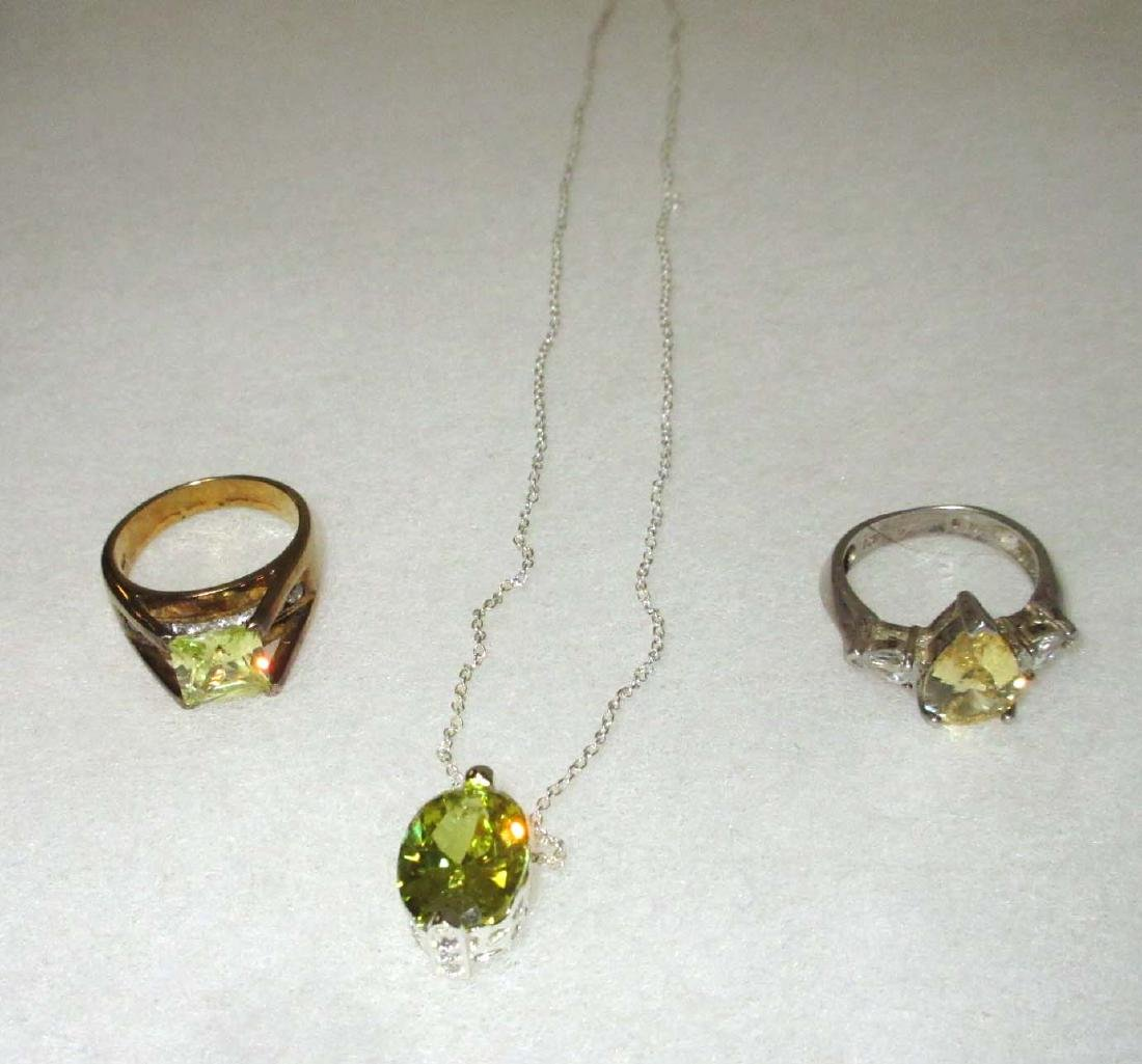 Sterling & Tourmaline Necklace & 2 Rings