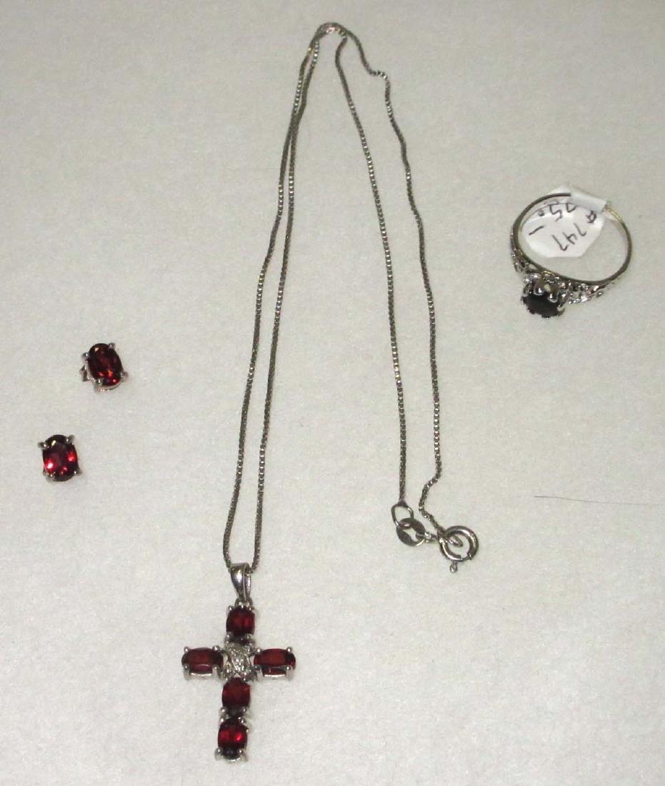 Sterling & Garnet Necklace, Earrings & Ring