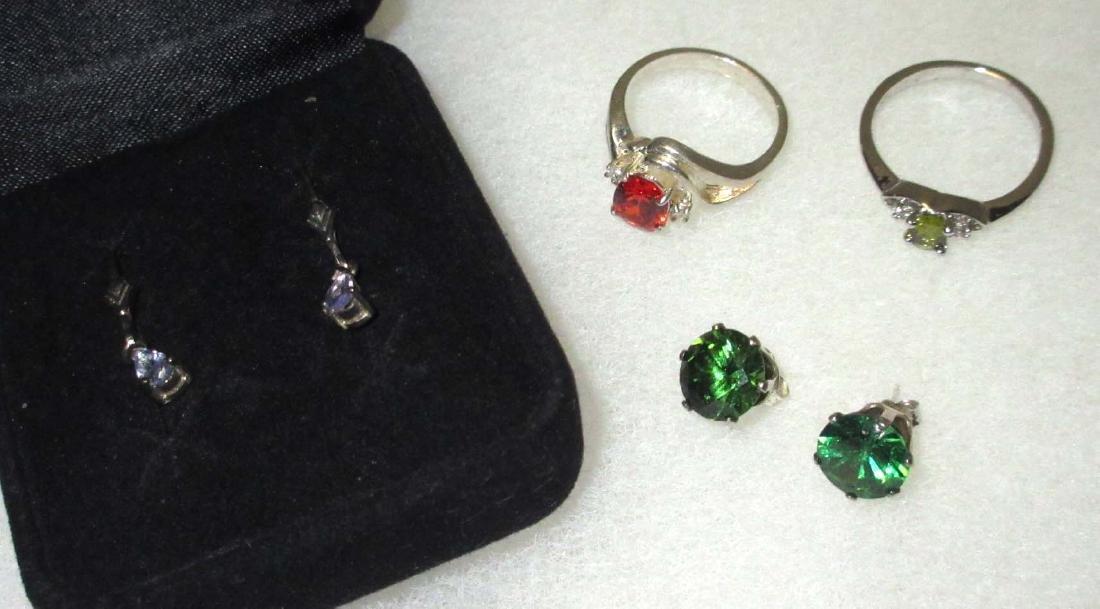 Sterling & Various Colored Tourmaline Earrings & Rings