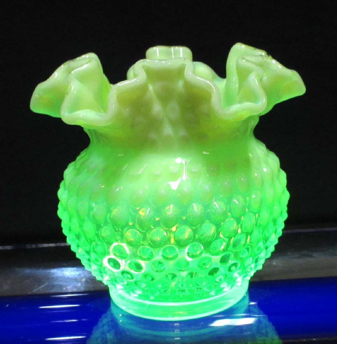 Vaseline Opalescent Fenton Vase