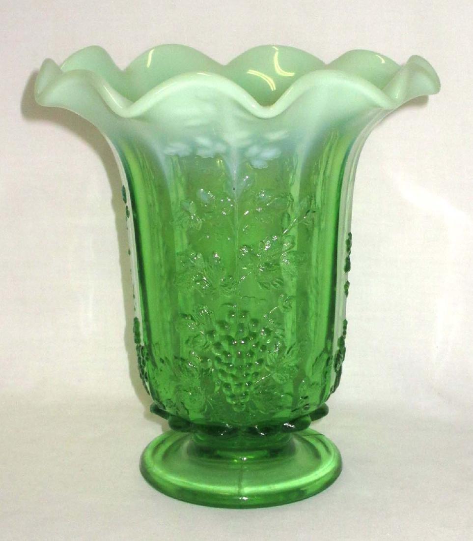 Green Opalescent Grape Vase