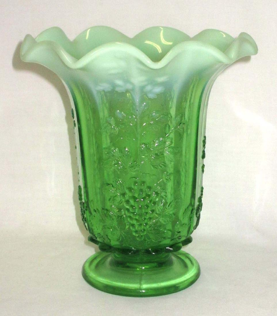 Green Opalescent Grape Vase