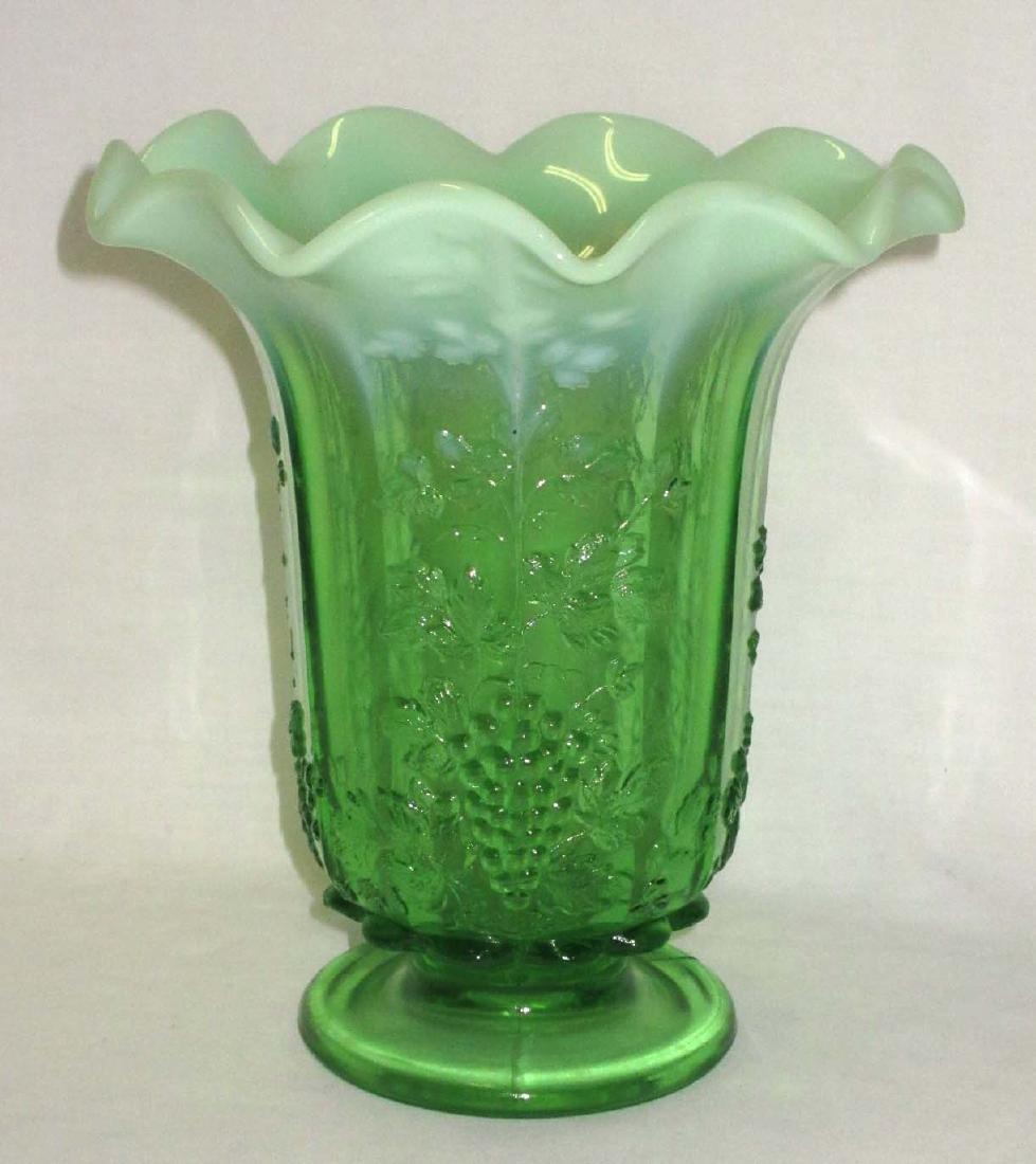 Green Opalescent Grape Vase - 2