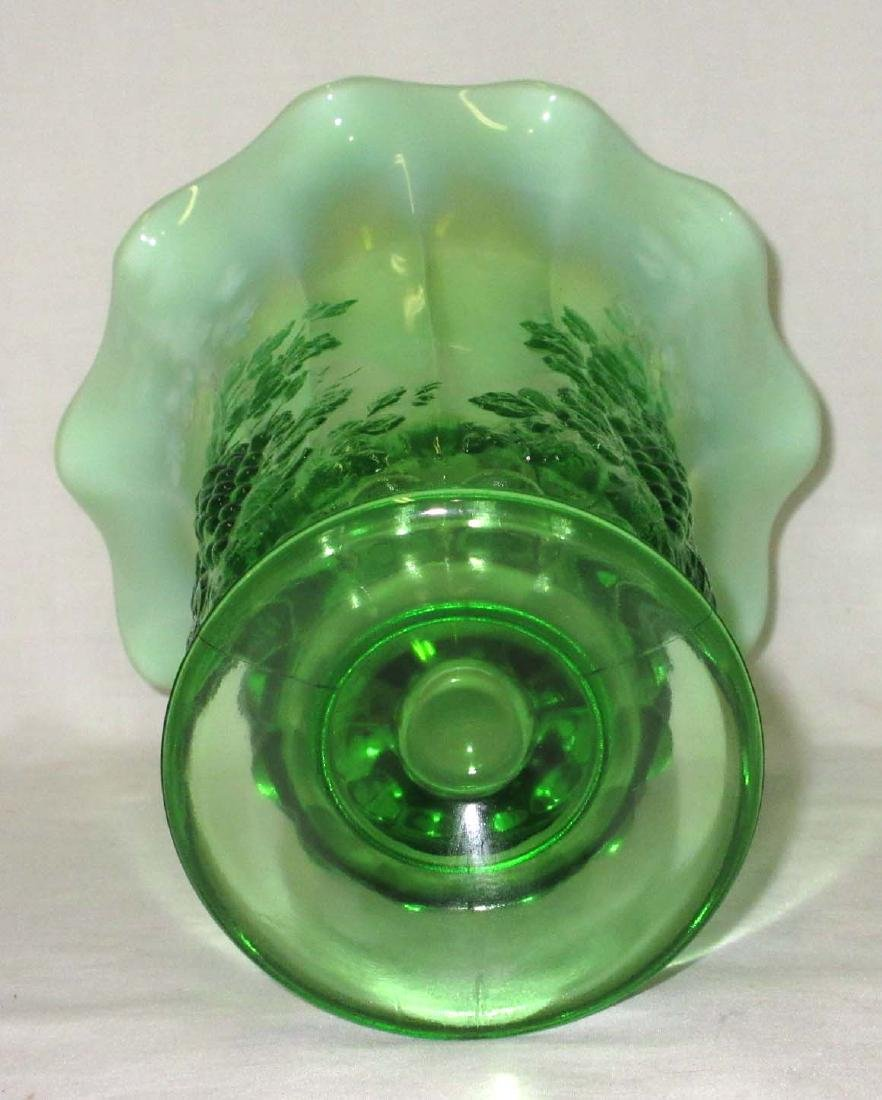Green Opalescent Grape Vase - 3