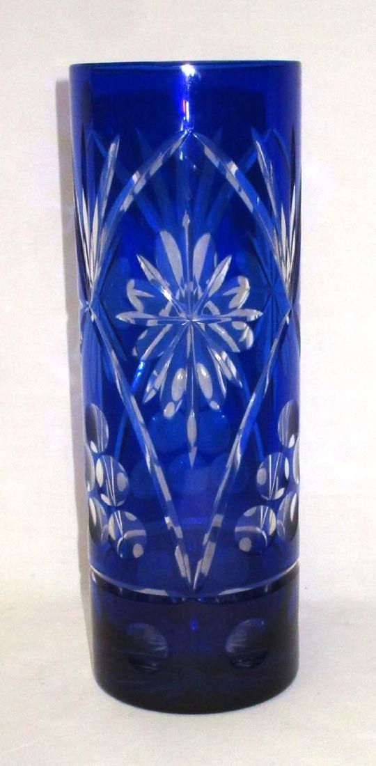 Cobalt Cut to Clear Vase