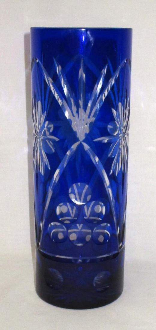 Cobalt Cut to Clear Vase - 2