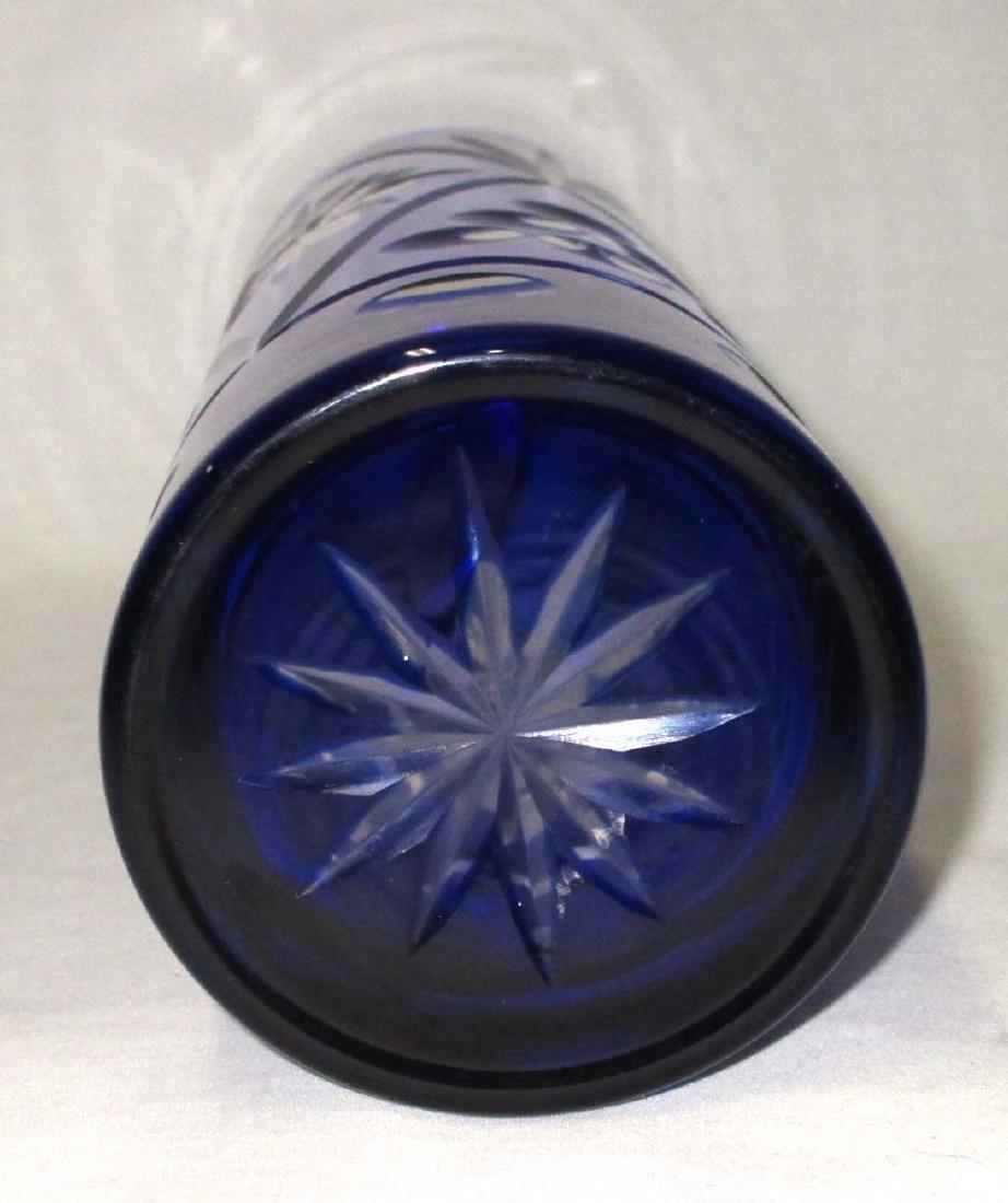 Cobalt Cut to Clear Vase - 3