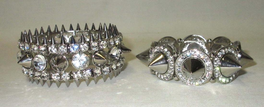 2 Rhinestone & Spikes Stretch Bracelets