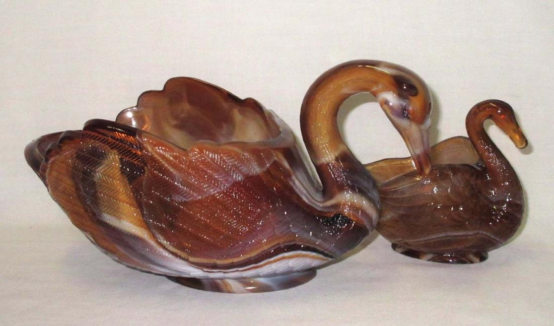2 Caramel Slag Swan Dishes