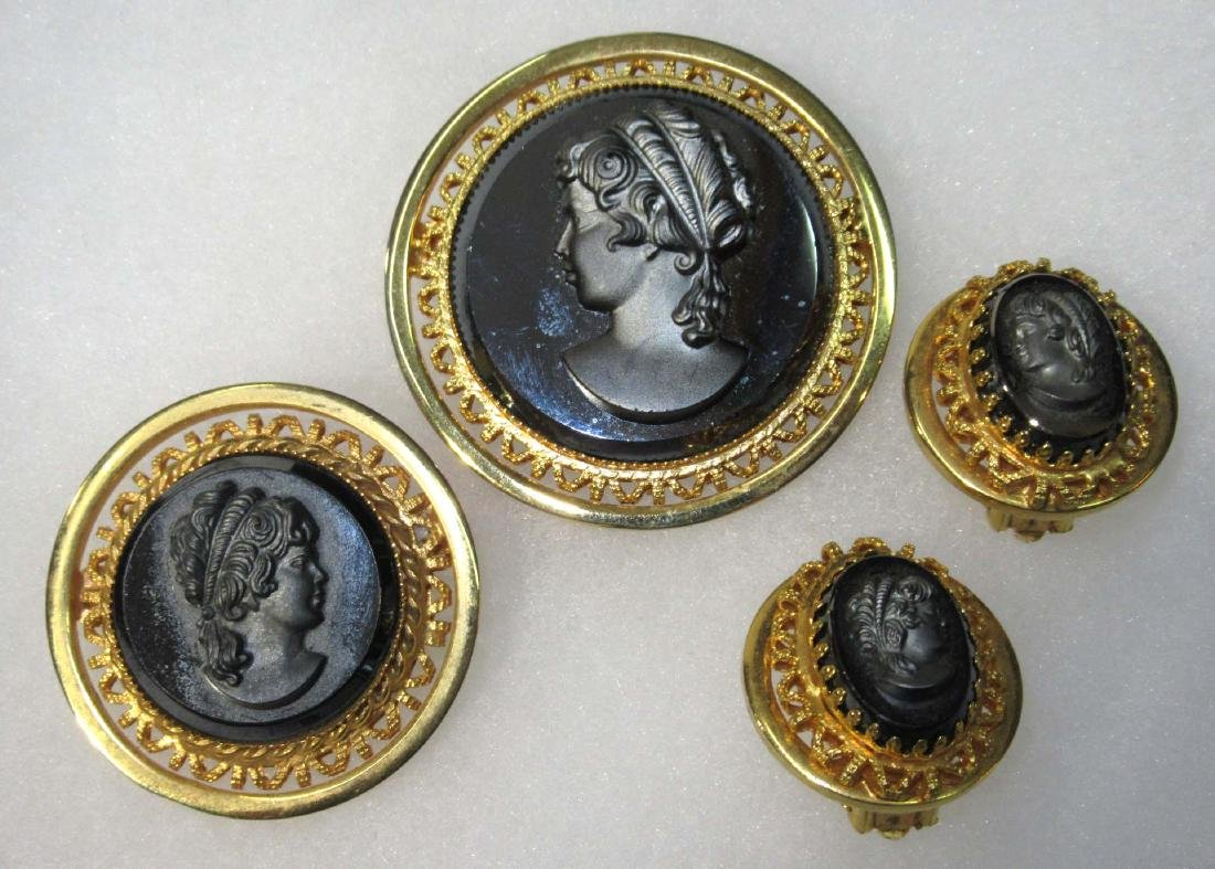 2 Hematite Cameo Pins & Pr of Earrings