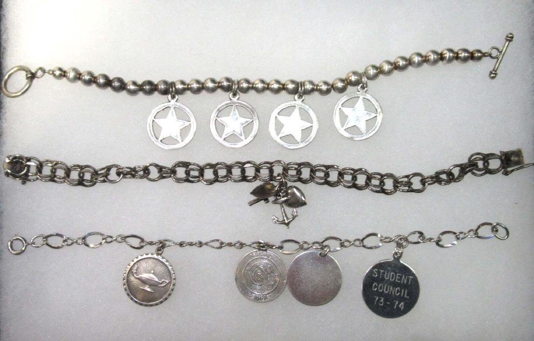 3 Sterling Charm Bracelets w/ Sterling Charms