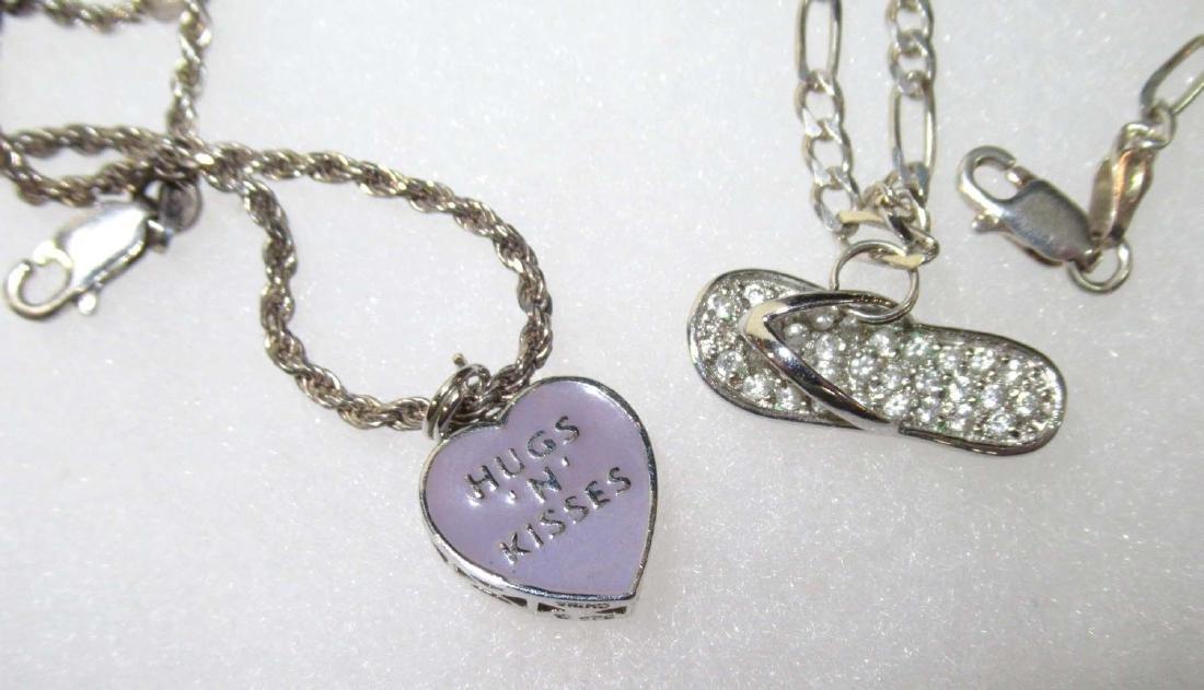 3 Sterling Charm Bracelets - 2