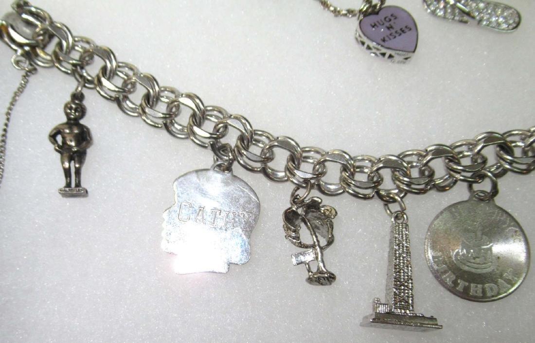 3 Sterling Charm Bracelets - 3