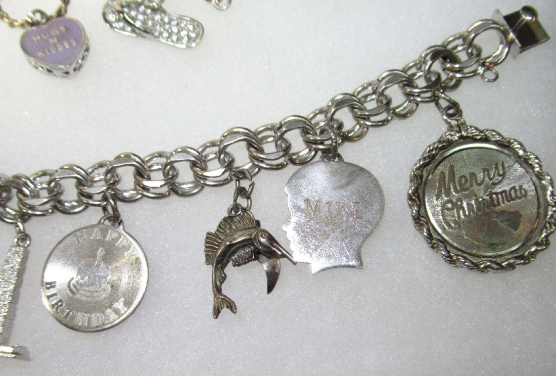 3 Sterling Charm Bracelets - 4
