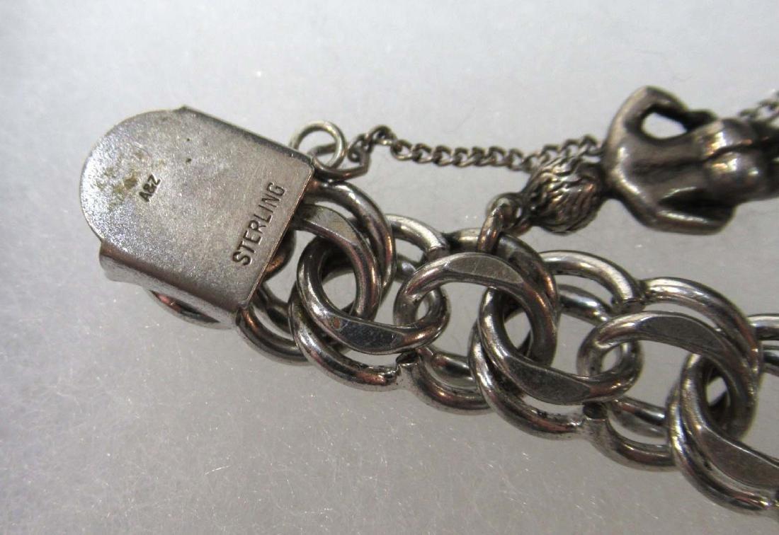 3 Sterling Charm Bracelets - 5