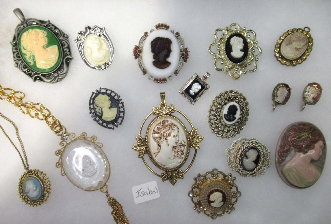 Lg. Group of Cameo Pins, Pendants, Necklaces, &