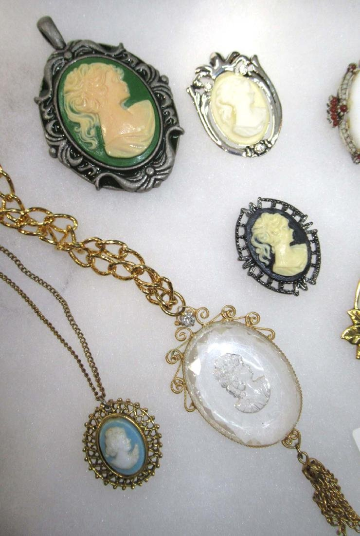 Lg. Group of Cameo Pins, Pendants, Necklaces, & - 2