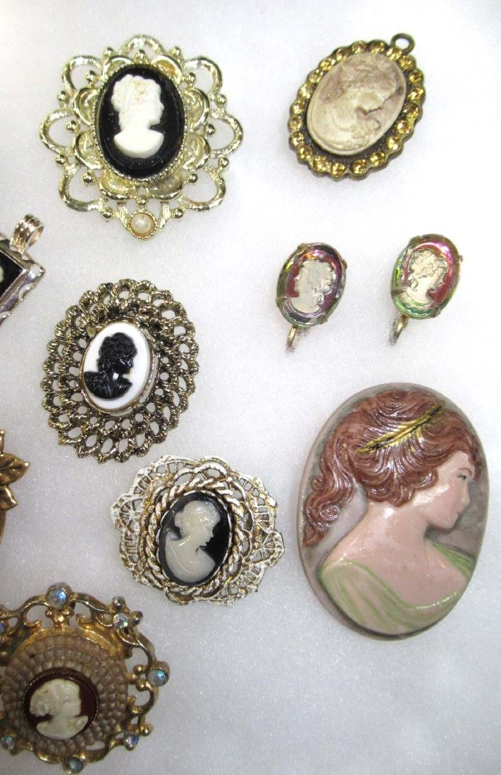 Lg. Group of Cameo Pins, Pendants, Necklaces, & - 4