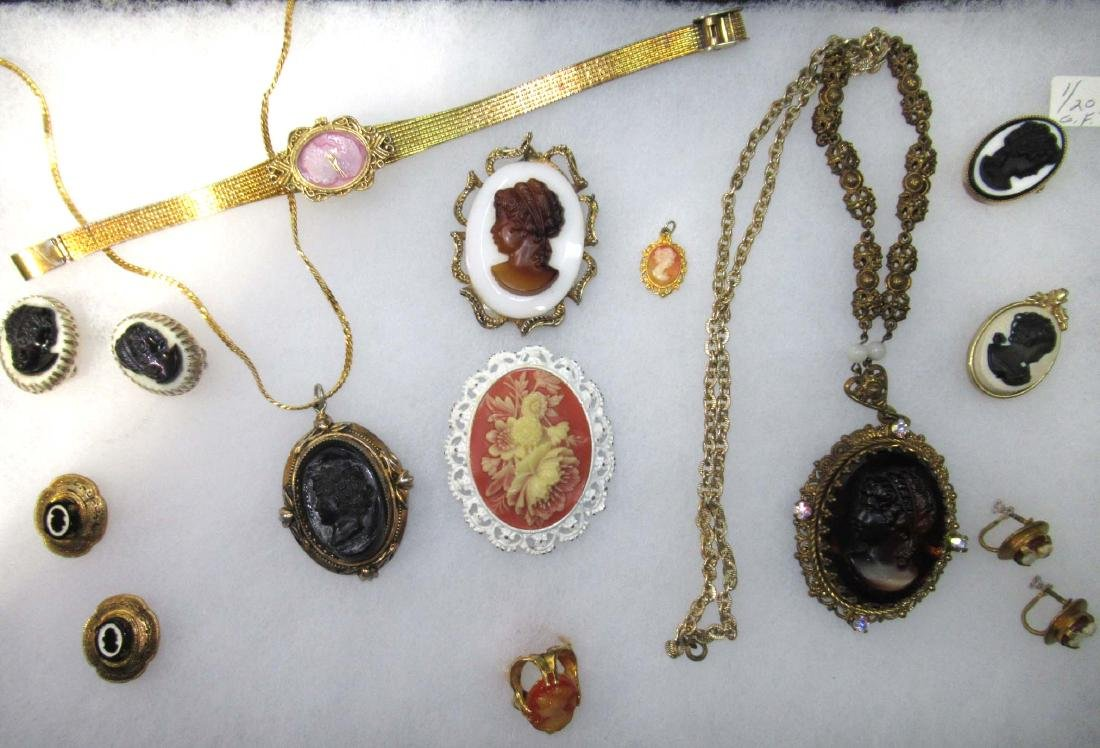 Lg. Group of Cameo Jewelry