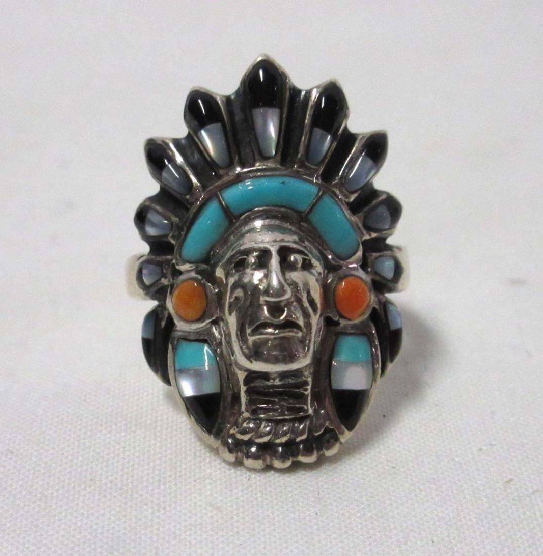 Inlaid Turquoise Indian Chief Ring