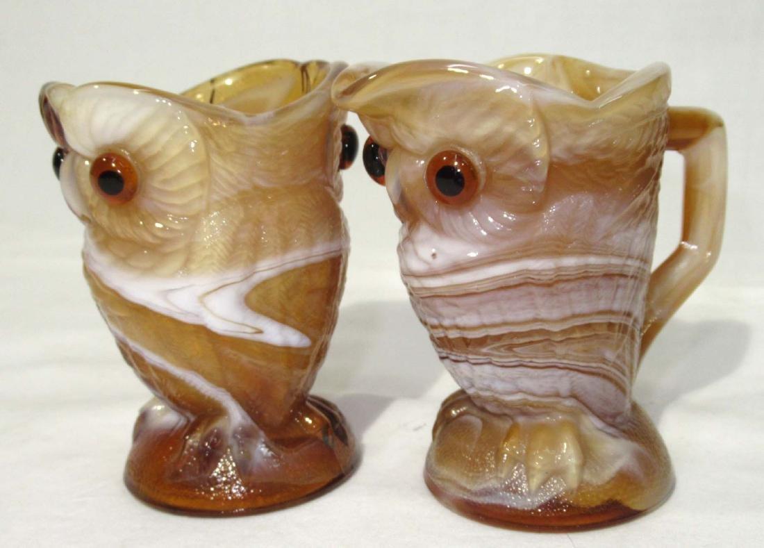 Caramel Slag Owl Cream & Sugar