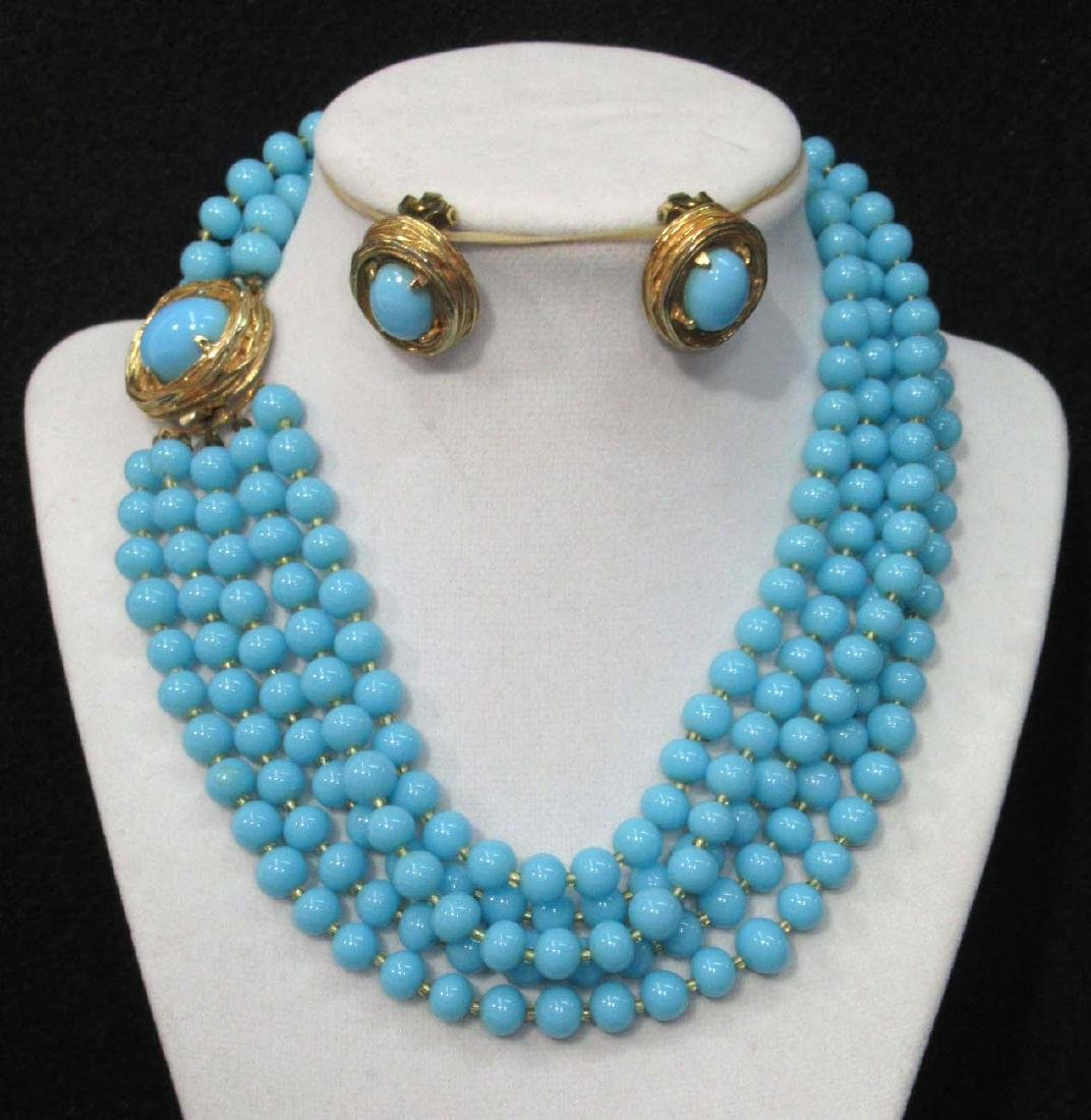 1950's Philip Hulitar Robins Egg Necklace & Earrings