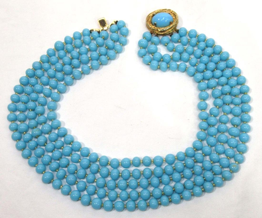 1950's Philip Hulitar Robins Egg Necklace & Earrings - 2