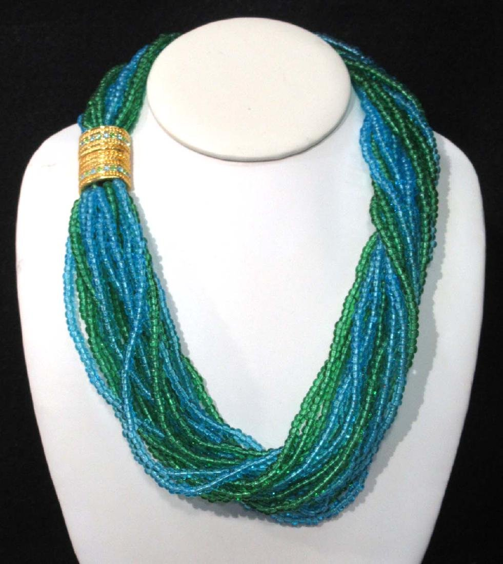 Sgnd Joan Rivers 18 Strand Glass Bead Necklace