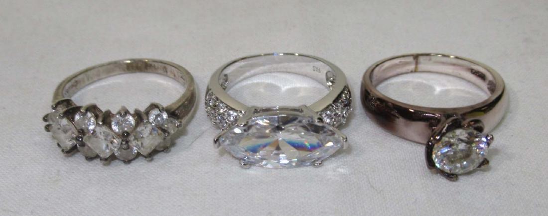 6 Sterling Cubic Zirconium Rings - 3