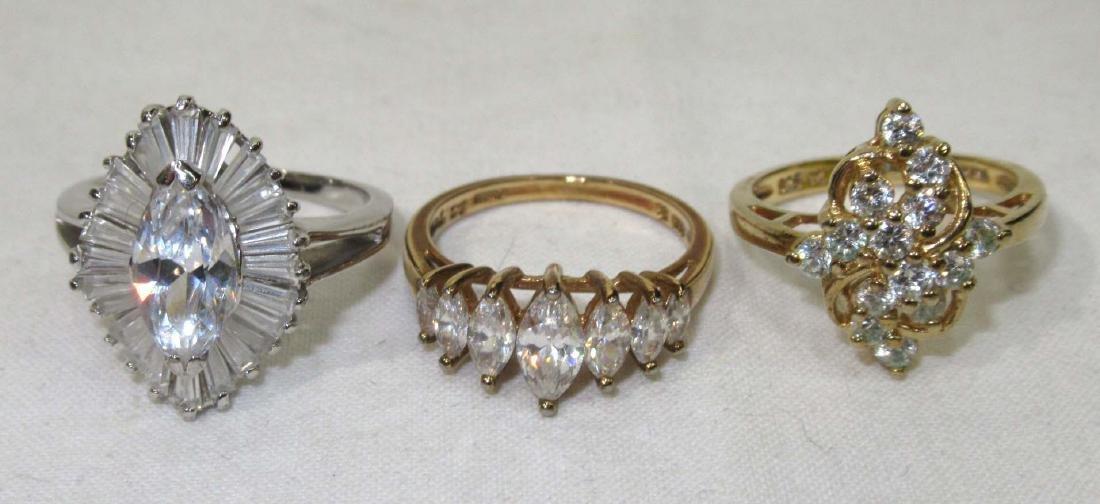 6 Sterling Cubic Zirconium Rings - 4