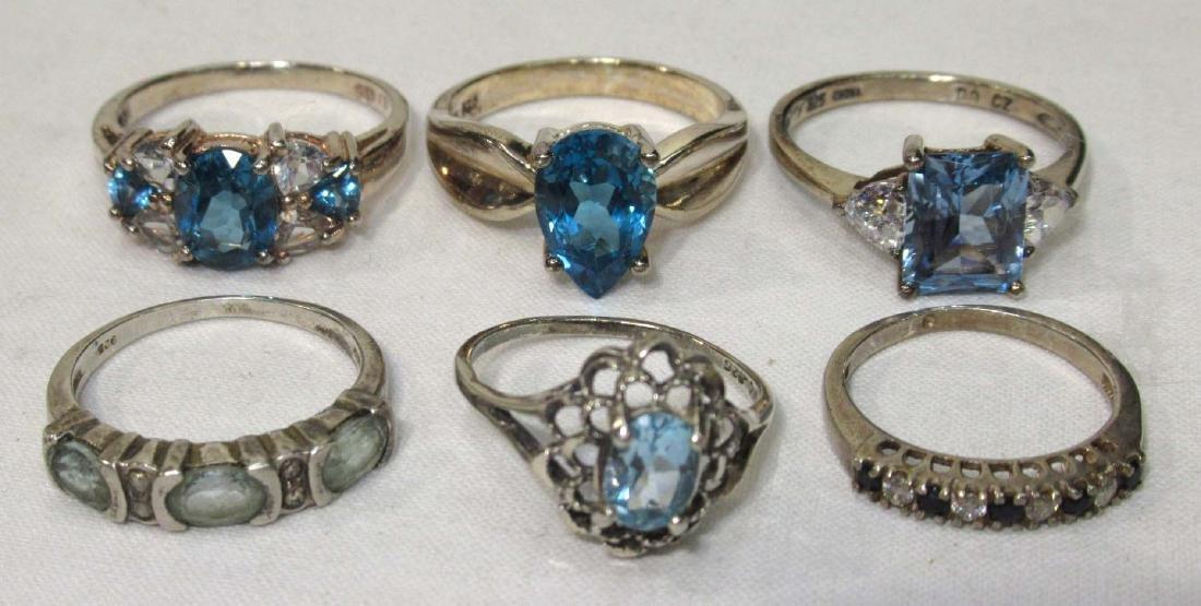 6 Sterling & Topaz Rings