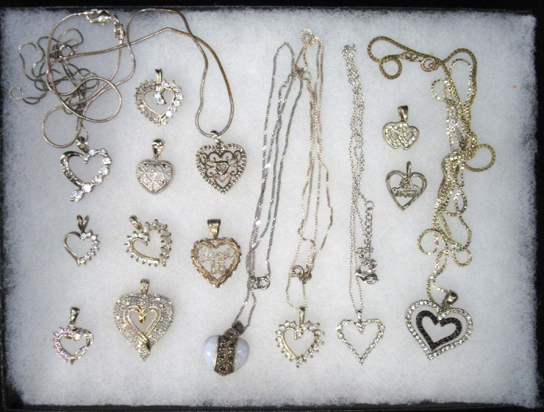 Lot of Sterling Heart Necklaces & Pendants
