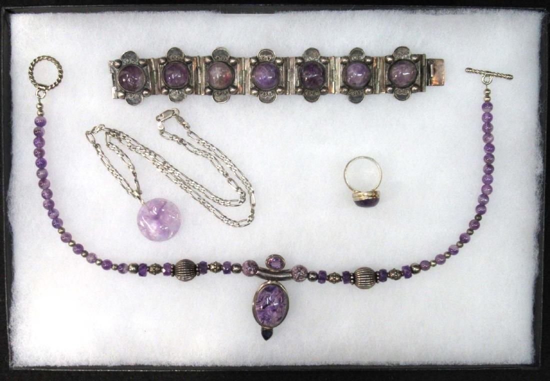 2 Sterling & Amethyst Necklaces, Bracelets & Ring