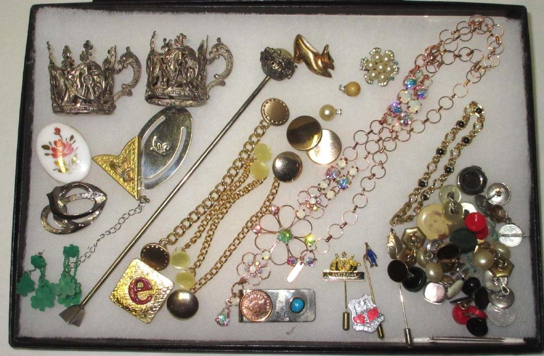 Lot Costume Jewelry Pins, Buttons, Money Clips etc..