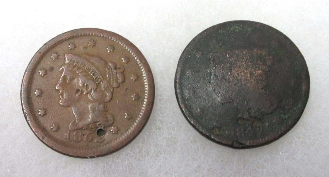 2 US Lg. Cents 1842 & 1852